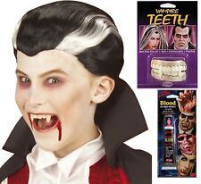 Childs Vampire Dracula Black Wig Halloween Fancy Dress Costume + Teeth + Blood