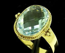 R277 Genuine 9ct 9K Solid Yellow Gold Large NATURAL Oval Topaz Ring size O