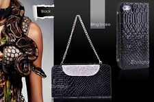 Premium Black Bling Snake Stand Wallet case cover for Apple iPhone 5S