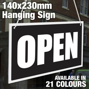 OPEN / BACK IN 2, 5, 10, 15, 20 & 30 MINS - 3MM RIGID HANGING SIGN, SHOP WINDOW