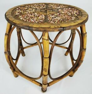 Vintage End Table Bent Bamboo Rattan Gravel Top Mid-Century Modern