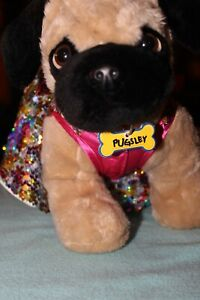 """Build A Bear 15"""" Pug named Pugsley interactive with outfit, sparkly dress"""