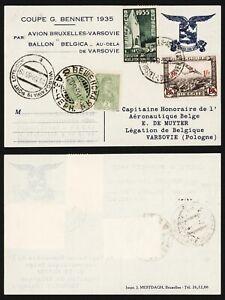 Belgium 1935 - Balloon Flight Air Mail Postcard Gordon Bennett Poland D375