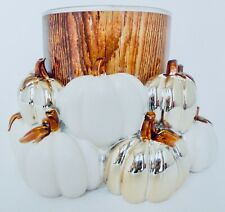BATH & BODY WORKS WHITE & GOLD PUMPKIN PATCH CANDLE HOLDER FOR 3 WICK CANDLES