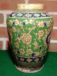 LARGE Antique 19th Century PERSIAN QAJAR Islamic Hand-Painted IZNIK POTTERY VASE