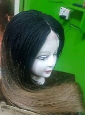 Full Micro Million braids Lace Wig black and gold - African Hand braided