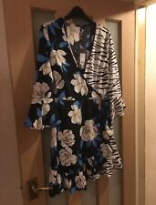 Influence Blue Floral & White Tiger Print Frill Sleeve Wrap Dress Size 10