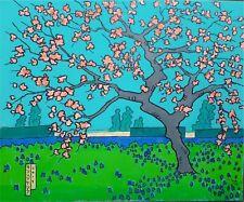 Pintura Original: árbol de flor rosa