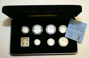 1985 Isle of Man Sterling Silver Proof Set Cased As Issued Condition With Cert