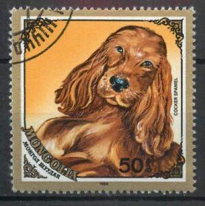 Cocker Spaniel dog Mongolia 1984 used stamp A174