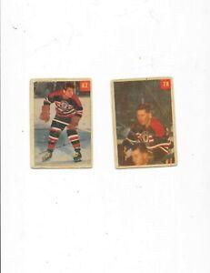 Lot (2) 1954 Parkhurst Premium Cards #78 Al Dewksbury & #82 Fred Sasacamoose Goo