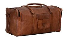 New Large Capacity Retro Genuine Leather Cowhide Travel Duffle Gym Bags Brown