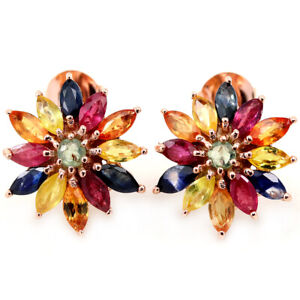 GENUINE MULTI COLOR SAPPHIRE MARQUISE & ROUND STERLING 925 SILVER FLOWER EARRING