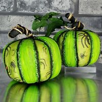 Halloween Pumpkins Green Black Glitter Spiders Lot of 2 Styrofoam Decor Vignette