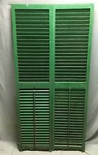 Pair Vtg House Window Wood Louvered Shutters 17X70 Shabby Old Chic Green 490-20B