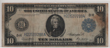 1914 $10 Bill Blue Seal Federal Reserve Note - 8-H St. Louis, Mo - Nice Color Vf
