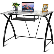Clear Glass Top Computer Desk w/ Pull-Out Keyboard Tray Home Office Furniture