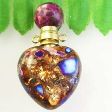Purple Gold Copper Bornite Heart Essential Oil Diffuser Bottle Pendant