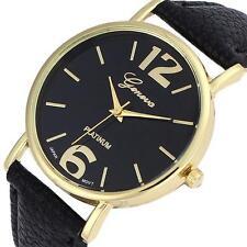 NEW Geneva Unisex Watch Women Men Faux Leather Analog Quartz Wrist Watch Trusty