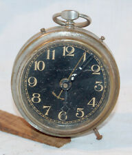 Clock Restoration Project - small but imposing black dialled wind up alarm