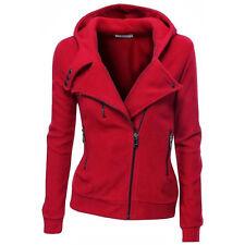 Womens Ladies Plain Coloured Zip Up Hooded Fleece Hoodie Sweatshirt Sport Jacket