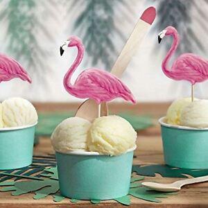 Tropical Flamingo Cake Toppers | Cupcake Party Decorations Aloha Food Picks x6