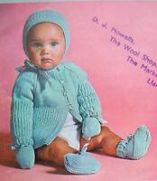 Baby Boys MATINEE COAT Cardigan Hat booties KNITTING PATTERN DK 20 - 21 inch 110