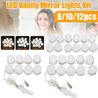 8/10/12x Dimmable USB LED Vanity Make Up Mirror Light Bulbs Dressing Table Lamp