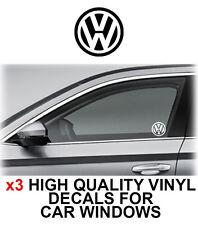 3 x VOLKSWAGEN VW Logo Window Sticker Decal Graphics