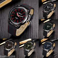 Vintage Mens Classic Watch Leather Strap Waterproof Date Sport Quartz Army Watch