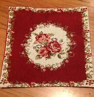 Burgundy Country Rose, Tapestry Pillow / Cushion Cover - Matching Throws Listed