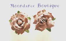 "1"" Medium Brown Rose Paper Flower Pierced Post Earrings Wedding Bridal Autumn"