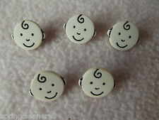 5 x CREAM BABY FACE SHAPED BUTTONS ~ size approx 15mm x 12mm ~ BABIES/CRAFT