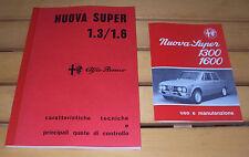 Uso e manutenzione Alfa Romeo Giulia Nuova Super 1300 1600 + Manuale OFFICINA-