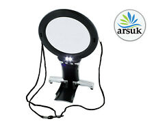 More details for neck & desk magnifier large hands free magnifying glass reading with 2 led light