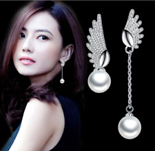 White Gold Plated Rhinestone Crystal Pearl Dangle Long Drop Stud Earrings Angel