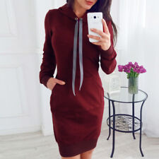 Women Casual Dress Long Sleeve Hoodie Hooded Jumper Pockets Sweater Sweatshirt