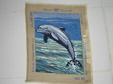 Royal Paris Needlepoint Tapestry France 1994 Dolphin Fish Porpoise Sea 11 3/4""