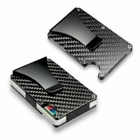 Mens RFID Blocking Slim Money Clip Carbon Fiber Credit Card Holder Metal Wallet