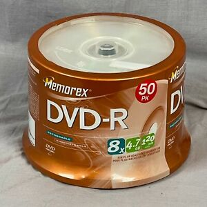 Memorex 50pk DVD-R 8x Speed Recordable 4.7 GB PC Home Video 120 Minutes Sealed