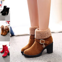 Women Winter Mid Heel Short  Martin Snow Boots Warm Shoes Big Size Ankle Boots