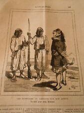Caricature 1879 - Economies du Khédive sur son armée Un fusil pour 2 hommes