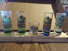 """Set of 5 Rainforest Cafe SHOT GLASS 4"""" tall 1.5"""" round small one 2.5"""" x 2"""" NEW"""