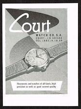 1950s Vintage 1950 Court Swiss Watch Print Ad