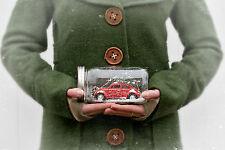 Volkswagen VW Bug Red Mason Jar Christmas Waterless Snow Globe Gift New  OOAK