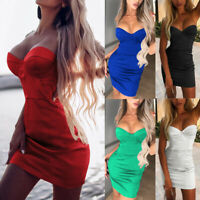 Women's Sexy Bodycon Strapless Evening Cocktail Party Slim Fit Short Mini Dress