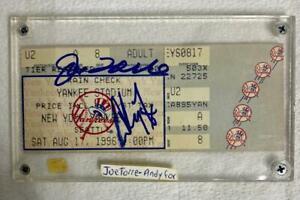NY Yankees Stadium Ticket Signed by JOE TORRE / ANDY FOX