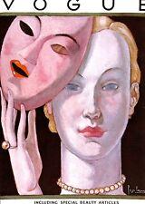 Vogue.Mask.Theatre.Beauty.Art.Artist.Art Deco.Print.Pearls.Vintage.Retro.Deco