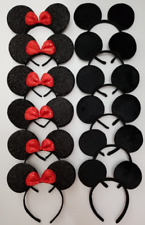12 PCS MICKEY MOUSE S black  & red sequin bow EAR HEADBANDS PARTY COSTUME MINNIE
