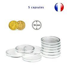 5 Capsules pour monnaie 18 mm intérieur - Protection pièce de monnaie